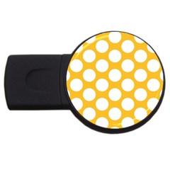 Sunny Yellow Polkadot 2gb Usb Flash Drive (round) by Zandiepants