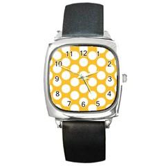 Sunny Yellow Polkadot Square Leather Watch by Zandiepants