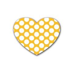 Sunny Yellow Polkadot Drink Coasters (heart) by Zandiepants