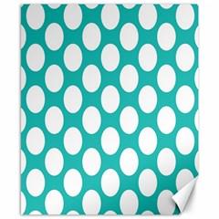 Turquoise Polkadot Pattern Canvas 8  X 10  (unframed) by Zandiepants