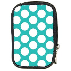 Turquoise Polkadot Pattern Compact Camera Leather Case by Zandiepants