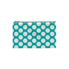 Turquoise Polkadot Pattern Cosmetic Bag (small) by Zandiepants