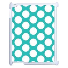 Turquoise Polkadot Pattern Apple Ipad 2 Case (white) by Zandiepants