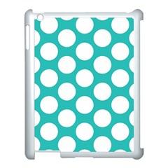 Turquoise Polkadot Pattern Apple Ipad 3/4 Case (white) by Zandiepants
