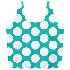 Turquoise Polkadot Pattern Reusable Bag (XL) by Zandiepants