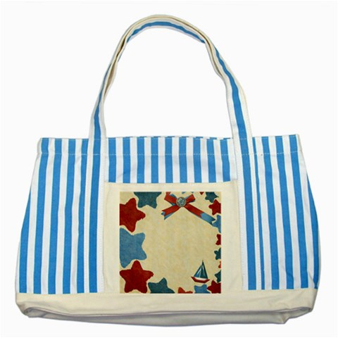 Star Tote By Shelly   Striped Blue Tote Bag   21oq4wa6eas8   Www Artscow Com Front