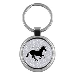 Unicorn On Starry Background Key Chain (round)