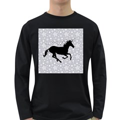 Unicorn on Starry Background Men s Long Sleeve T-shirt (Dark Colored) by StuffOrSomething
