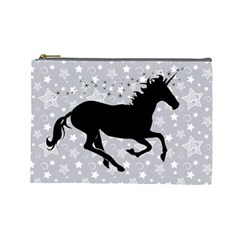 Unicorn On Starry Background Cosmetic Bag (large) by StuffOrSomething