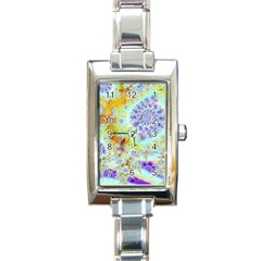 Golden Violet Sea Shells, Abstract Ocean Rectangular Italian Charm Watch by DianeClancy