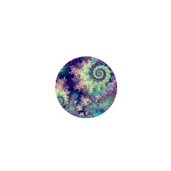 Violet Teal Sea Shells, Abstract Underwater Forest 1  Mini Button by DianeClancy