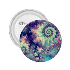 Violet Teal Sea Shells, Abstract Underwater Forest 2 25  Button by DianeClancy