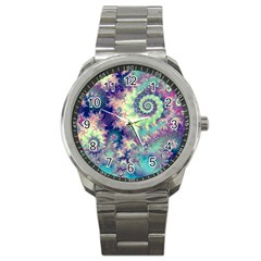 Violet Teal Sea Shells, Abstract Underwater Forest Sport Metal Watch by DianeClancy