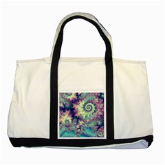 Violet Teal Sea Shells, Abstract Underwater Forest Two Tone Tote Bag by DianeClancy