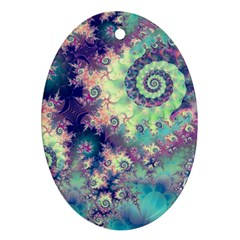 Violet Teal Sea Shells, Abstract Underwater Forest Oval Ornament (two Sides) by DianeClancy
