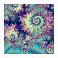Violet Teal Sea Shells, Abstract Underwater Forest Glasses Cloth (medium) by DianeClancy