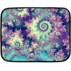 Violet Teal Sea Shells, Abstract Underwater Forest Mini Fleece Blanket(two Sides) by DianeClancy