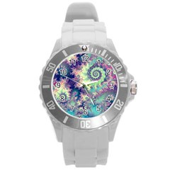 Violet Teal Sea Shells, Abstract Underwater Forest Round Plastic Sport Watch Large by DianeClancy