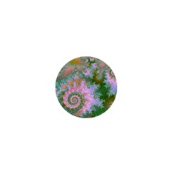 Rose Forest Green, Abstract Swirl Dance 1  Mini Button Magnet by DianeClancy