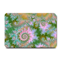 Rose Forest Green, Abstract Swirl Dance Small Door Mat by DianeClancy