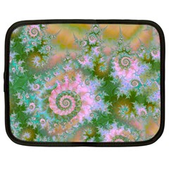 Rose Forest Green, Abstract Swirl Dance Netbook Sleeve (large) by DianeClancy