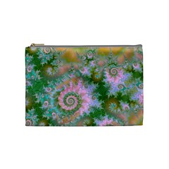 Rose Forest Green, Abstract Swirl Dance Cosmetic Bag (medium) by DianeClancy