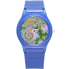 Rose Forest Green, Abstract Swirl Dance Plastic Sport Watch (small) by DianeClancy