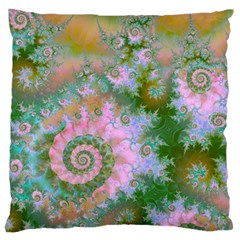 Rose Forest Green, Abstract Swirl Dance Large Cushion Case (single Sided)