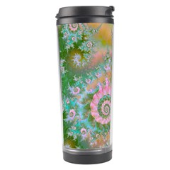 Rose Forest Green, Abstract Swirl Dance Travel Tumbler by DianeClancy