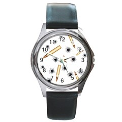 Bulletsnbulletholes Round Leather Watch (silver Rim)