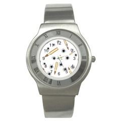 Bulletsnbulletholes Stainless Steel Watch (Slim)