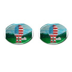 Painted Flag Bigfoot Homo E  Cufflinks (oval) by creationtruth