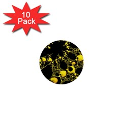 Special Fractal 04 Yellow 1  Mini Button (10 pack) by ImpressiveMoments