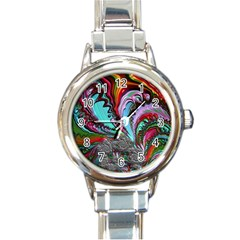 Special Fractal 02 Red Round Italian Charm Watch by ImpressiveMoments