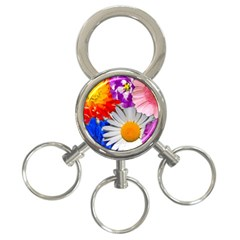 Lovely Flowers, Blue 3 Ring Key Chain by ImpressiveMoments