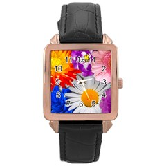 Lovely Flowers, Blue Rose Gold Leather Watch  by ImpressiveMoments