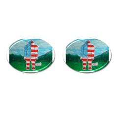 Painted Flag Big Foot Aust Cufflinks (oval) by creationtruth