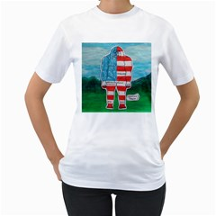 Painted Flag Big Foot Aust Women s T Shirt (white)  by creationtruth