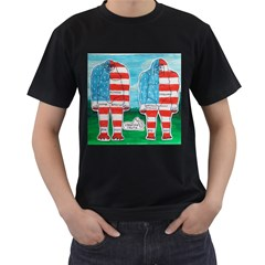2 Painted U,s,a,flag Big Foots Men s Two Sided T Shirt (black) by creationtruth