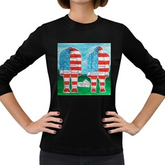 2 Painted U,s,a,flag Big Foots Women s Long Sleeve T Shirt (dark Colored) by creationtruth