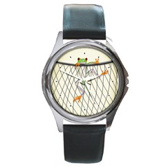 Peace Froggy Hanging On Backpack1 Round Leather Watch (silver Rim) by CaterinaBassano