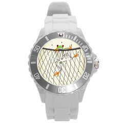Peace Froggy Hanging On Backpack1 Plastic Sport Watch (large) by CaterinaBassano