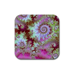 Raspberry Lime Delight, Abstract Ferris Wheel Rubber Coaster (square) by DianeClancy
