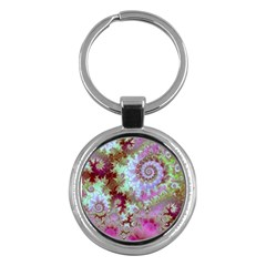Raspberry Lime Delight, Abstract Ferris Wheel Key Chain (round) by DianeClancy