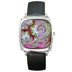 Raspberry Lime Delight, Abstract Ferris Wheel Square Metal Watch by DianeClancy