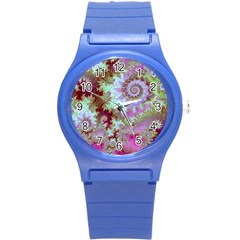 Raspberry Lime Delight, Abstract Ferris Wheel Round Plastic Sport Watch Small by DianeClancy