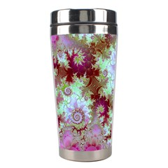 Raspberry Lime Delight, Abstract Ferris Wheel Stainless Steel Travel Tumbler by DianeClancy