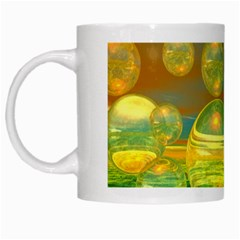 Golden Days, Abstract Yellow Azure Tranquility White Coffee Mug by DianeClancy