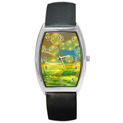 Golden Days, Abstract Yellow Azure Tranquility Tonneau Leather Watch by DianeClancy