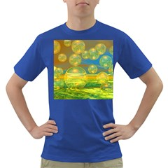 Golden Days, Abstract Yellow Azure Tranquility Men s T Shirt (colored) by DianeClancy